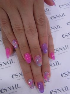 pink and purple batik summer nails