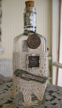 Tintype Antique Bottle Vintage Apothecary Altered Art Bottle