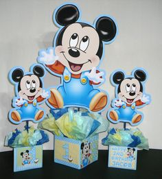 Cute diy Mickey Mouse 1st bday center pieces!