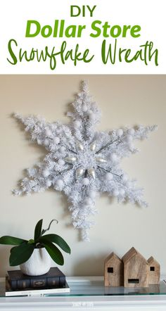 DIY Dollar Store Snowflake Wreath DIY Christmas Decorations: Snowflake Wreath - Dollar Tree Craft<br> Create a stunning DIY Christmas Decoration Snowflake Wreath using mini artificial Christmas trees and your choice of decorations from the Dollar Tree. Diy Christmas Decorations, Diy Christmas Snowflakes, Snowflake Wreath, Dollar Tree Christmas, Snowflake Decorations, Dollar Tree Crafts, Christmas Tree Toppers, Holiday Crafts, Christmas Wreaths