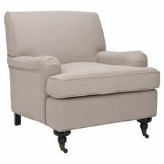 """Linen club chair with front caster feet.   Product: ChairConstruction Material: Birchwood, plywood and linenColor: Beige Features:   Generously stuffed cushions    Castered front feet    Dimensions: 31"""" H x 34"""" W x 29"""" DCleaning and Care: Professional cleaning recommended"""