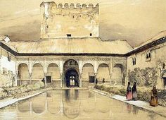 John Frederick Lewis (1805 - 1876, English) Sketches and Drawings of the Alhambra: Court of the Myrtles and the Tower of Comares