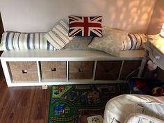 Ikea Expedit shelving as storage seating