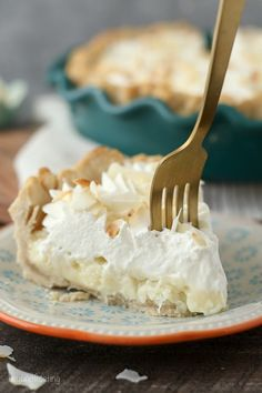 This to-die-for Coconut Cream Pie has a dreamyhomemade, sweet coconut custard filling and it's topped with plenty of whipped cream. It sits in a classic flaky pie crust.