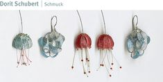 Dorit Schubert gives the ancient art of lacemaking a modern twist by spinning nylon, fine silver and steel into threads that become organic shapes Copper Jewelry, Pendant Jewelry, Jewelry Art, Jewelry Design, Unusual Jewelry, Handmade Jewelry, Recycled Jewelry, Jewellery Exhibition, Baubles And Beads