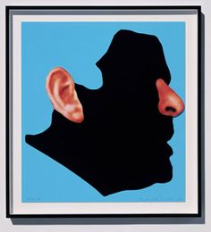 Noses and Ears, Etc.: The Gemini Series: Profile with Ear and Nose (Colour), 2006, , National Gallery of Australia, Canberra  Screen print on paper mounted on Sintra with hand painting. © John Baldessari  In this piece Baldessari exposes an isolated nose and ear on a facial profile in silhouette.