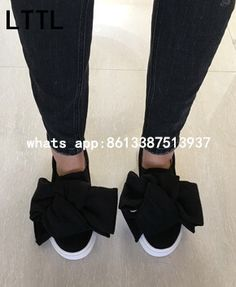 2017 Spring New Hot Women Solid Blue/Black Round Toe Big Bow Low Top Slip On Flat Casual Shoes Knot Platform Trainers Flats