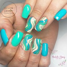 Here come the swirls!!! It looks like this popular nail art trend is here to stay this summer and we can see why! This set is giving us beach vibes and those glitter waves are just perfection! Using Lecenté Gel Polish in shades... All Is Funfair Summer Sideshow Mint To Be White Magic Indian Summer. 📷@michelleclancynailartist Nail Art Professionnel, Glitter Gel Polish, Popular Nail Art, Professional Nail Art, White Magic, Indian Summer, Sideshow, Swirls, Nail Designs