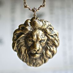 The Lion Necklace  American Made Antique Gold by blackpersimmons