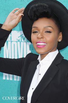 COVERGIRL Janelle Monáe rocking the red carpet at the 2012 MTV Movie Awards. Re-create the look with COVERGIRL Blast Flipstick in Perky #825. http://www.covergirl.com/blast flipstick