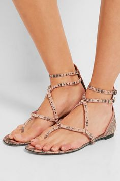 Slight heel Blush and black lizard, taupe leather Buckle-fastening ankle straps Lizard: Argentina Made in Italy