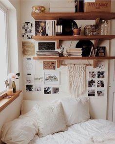 Bedroom decor, small corner decor, bedroom ideas for small rooms women, sma College Bedroom Decor, Small Room Bedroom, Small Rooms, Dorm Room, Small Spaces, Small Bedroom Ideas On A Budget, Budget Bedroom, Diy Bedroom, Bedroom Rustic