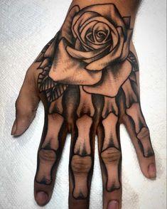 Pretty Hand Tattoos, Hand And Finger Tattoos, Hand Tattoos For Girls, Rose Hand Tattoo, Hand Tats, Mens Hand Tattoos, Skull Rose Tattoos, Tattoos For Hands, Angel Hand Tattoo
