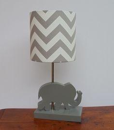 Small Grey/White Chevron Drum Lamp Shade - Nursery, Girl's or Boy's Lamp Shade on Etsy, $25.00