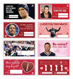 Patriot's Valentines.  Love the Tom Brady and the Bill Belichick