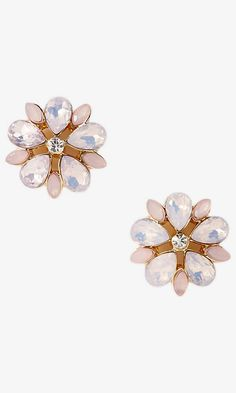 Mixed Stone Flower Post Earrings | Express