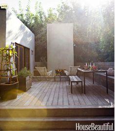Home - Outdoor Rooms - modern wood deck, lounge chairs and outdoor fireplace Outdoor Rooms, Outdoor Gardens, Outdoor Living, Outdoor Decor, Outdoor Decking, Backyard Patio, Cozy Patio, Clean Patio, Design Exterior