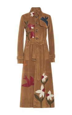 Suede Trench Coat With Leather Macroflower Patchwork by RED VALENTINO for Preorder on Moda Operandi