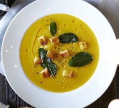 Butternut soup with crispy sage & apple croutons: The apple and sage contrast beautifully with naturally sweet butternut squash in this low-fat, gluten-free festive dinner party starter