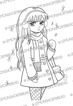 Digital Stamp Winter Girl, Shopping Digi Ear Muff, Fashion, Snow, Scrapbooking Supplies, Card Making, Coloring Page, Instant download