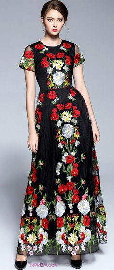 Tulle With Embroidery Maxi Dress  Item Code:#JRP9AN4L5R