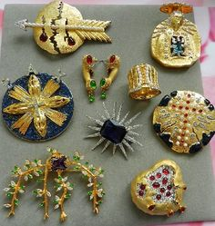 Precious vintage brooches created by Salvador Dali in the late 1940's - early 50s - Kaleidoscope effect