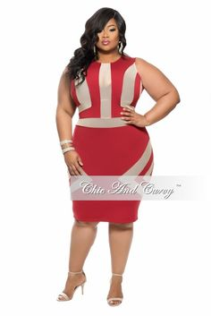 Plus Size BodyCon Sleeveless Knee-Length Dress in Burgundy and Tan Brown - Chic And Curvy Queen Fashion, Ladies Fashion, Chic And Curvy, Peplum Dress, Bodycon Dress, Plus Size Bodycon, Freakum Dress, Spring Outfits, Plus Size Outfits