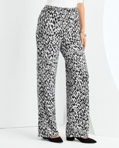 Cool Cat Pant -- Women's wide-leg pull-on pant in always-on-trend animal print.