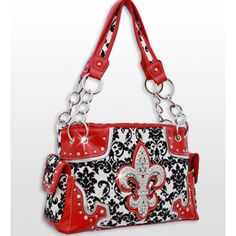 Handbags, Bling & More! Red Western Style Damask Print Fleur De Lis Purse Conceal and Carry Purse : Conceal and Carry Purses