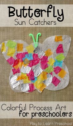 A spring art project that uses simple supplies and doesn't take long to set up-- Colorful Butterfly Sun Catchers. Preschoolers love this process art!