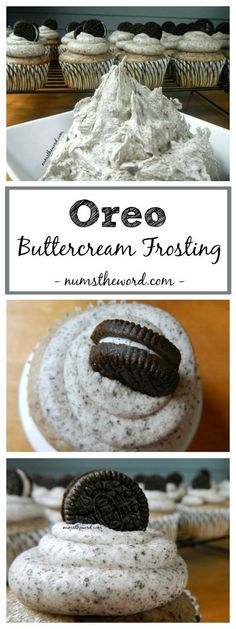 Oreo Buttercream Frosting is the BEST frosting you'll ever eat. It tastes JUST… Oreo Buttercream Frosting is the BEST frosting you'll ever eat. It tastes JUST LIKE AN OREO and is perfect as a cake frosting or a cupcake frosting! Cupcake Recipes, Baking Recipes, Cupcake Cakes, Oreo Cupcakes, Oreo Cookies, Best Cupcake Icing, Cupcake Ideas, Recipes For Cakes, Frost Cupcakes