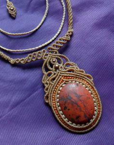 Rote Jaspis Macrame Halskette Stein Größe ca. 40 von LaQuetzal