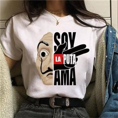 Women Papel T-shirt Funny Top Tee Fashion Female Clothes T-shirts – Wholesaleresource Graphic Shirts, Printed Shirts, T Shorts, Polyester Material, Top Funny, Cheap T Shirts, Cute Tshirts, T Shirts For Women, Clothes For Women