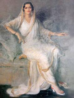 Rani Sita Devi of Kapurthala wearing pearls