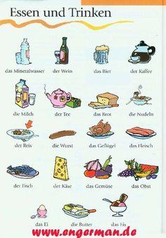 Essen und Trinken Más - santhosh kumar m v - Deutsche Stifte Learn German, Learn French, Learn English, German Grammar, German Words, German Resources, Deutsch Language, Germany Language, German Language Learning