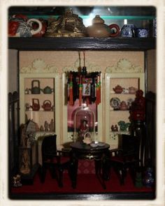 JDayMinis, Life, Antique Inspiration, Freebies: Miniature Chinese Room, Making Tiny Chinese Dolls