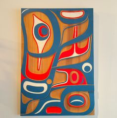 "Sea Monster Panel by Don Yeomans (Haida), hand carved red cedar and acrylic paint, 26"" x 38"" $7.500"