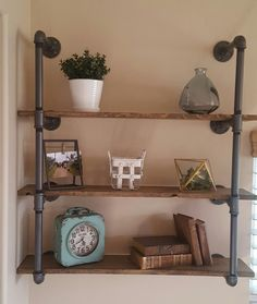Industrial Pipe Shelving With Reclaimed Wood Planks