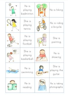 Present Continuous Tense Examples - Lessons - Tes Teach English Activities For Kids, Learning English For Kids, English Worksheets For Kids, English Games, English Lessons For Kids, Kids English, English Language Learning, Teaching English, Learn English