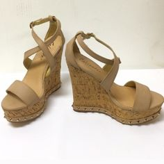 Caliente Taupe Strappy Wedges Strappy wedges with a gold color stud design all around. Casual with some jeans or your fav maxi. Gorgeous! Medium width and true to size. 5' Heel 1.25 Platform Caliente Shoes Wedges