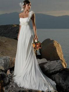 Beautiful One-Shoulder Beach Wedding Gown is elegant and dignified, Empire Line, variety of colours, feel like a Princess on your Wedding Day, lovely Chiffon over Satin Wedding Dress Expensive Wedding Dress, Cute Wedding Dress, Wedding Dress Chiffon, Fall Wedding Dresses, Colored Wedding Dresses, Bridal Dresses, One Shoulder Wedding Dress, Wedding Gowns, Bridesmaid Dresses