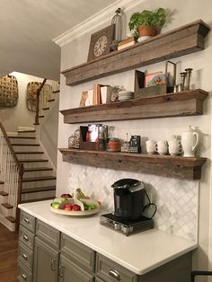 A great solution to a tradition ca… Floating Barnwood shelves – coffee bar area. A great solution to a tradition cabinet. Find me on Houzz too. Coffee Bar Home, Home Coffee Stations, Coffee Shop, Coffee Corner, Coffee Bars, Coffee Lovers, House Coffee, Coffee Maker, Kitchen Redo