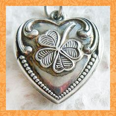 Vintage 1940's good luck clover puffy heart sterling silver charm ~ engraved Dodie