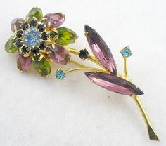 Amethyst & Peridot Navette Flower Brooch - Garden Party Collection Vintage Jewelry