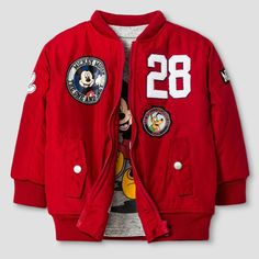 Disney Toddler Boys' Bomber Jacket and Long Sleeve Tee Set - Red 3T, Toddler Boy's