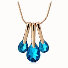 $4.35 - Cute Women's Faux Crystal Drop Pendant Necklace