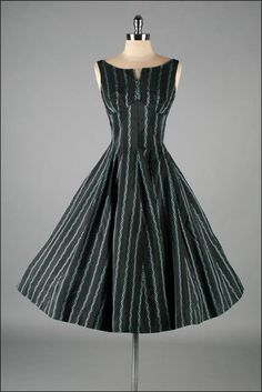 Vintage 1950s Dress . Black with Turquoise by millstreetvintage