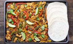 Make these Sheet Pan Chicken Fajitas for an easy one pan dinner that's healthy and perfect for your next party.