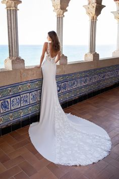 Sleeveless v-neckline lace embroidered crepe sheath wedding dress with sheer bodice by Pronovias x Kleinfeld - Image 2 Boho Wedding Dress With Sleeves, How To Dress For A Wedding, Long Sleeve Wedding, Bridal Wedding Dresses, Lace Wedding, Crepe Wedding Dress, Dream Wedding, Crepe Dress, Pronovias Wedding Dress