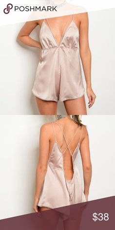 "New sexy nude satin romper . Brand new from my boutique  . Model is wearing the exact product  . This retailed at Nasty Gal for $59 (brand is Solaris) . Also available in other colors              Any questions? Don't hesitate to ask  ✨ Use the ""buy now"" or ""add to bundle"" feature to purchase ✨ Nasty Gal Pants Jumpsuits & Rompers"